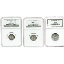Lot of 3 Lima, Peru, silver minors in NGC capsules: 1/5 sol, 1866/5YB, MS-64; 1 real, 1860YB, MS-65;