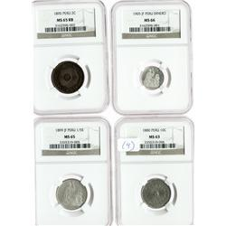 Lot of 4 Lima, Peru, silver, copper and copper-nickel minors in NGC capsules: provisional 10c, 1880,