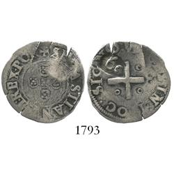 Portugal, 60 reis countermark (1642) on a Sebastian 1/2 tostao.