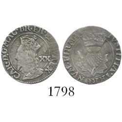 Scotland, 20 pence, Charles I (1625-49).