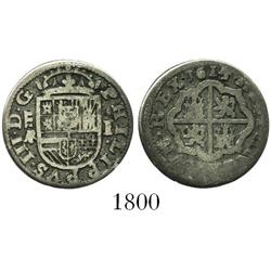 "Segovia, Spain, milled 1 real ""half pistareen,"" Philip III, 1614/08AR/C."