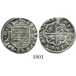 "Segovia, Spain, milled 2 reales ""pistareen,"" Philip IV, 1627P."