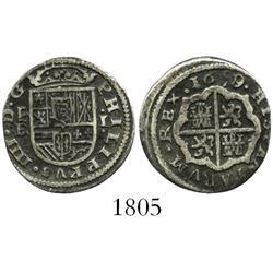 "Segovia, Spain, milled 1 real ""half pistareen,"" Philip IV, 1659/1BR."