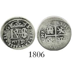 "Segovia, Spain, milled 1/2 real ""quarter pistareen,"" Philip IV, 1633R."