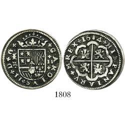 "Segovia, Spain, milled 2 reales ""pistareen,"" Charles II, 1684BR, +MREX variety."