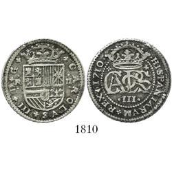 "Barcelona, Spain, milled 2 reales ""pistareen,"" Charles III Pretender, 1710."