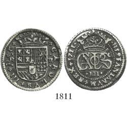 "Barcelona, Spain, milled 2 reales ""pistareen,"" Charles III Pretender, 1711."