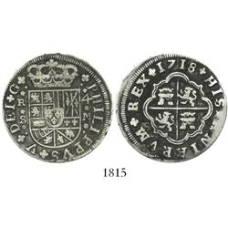 "Seville, Spain, milled 4 reales ""double pistareen,"" Philip V, 1718M."