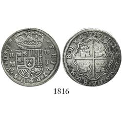 "Segovia, Spain, milled 2 reales ""pistareen,"" Philip V, 1717J."