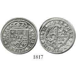 "Cuenca, Spain, milled 2 reales ""pistareen,"" Philip V, 1718JJ."