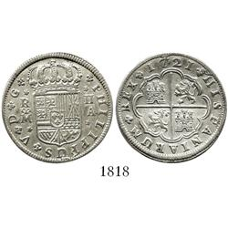 "Madrid, Spain, milled 2 reales ""pistareen,"" Philip V, 1721A."
