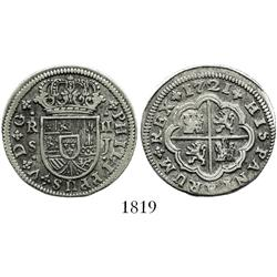 "Seville, Spain, milled 2 reales ""pistareen,"" Philip V, 1721J."