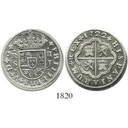 "Seville, Spain, milled 2 reales ""pistareen,"" Philip V, 1722J."