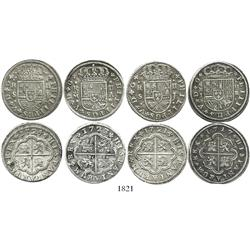 "Lot of 4 Spanish milled 2 reales ""pistareens"" of Philip V: Madrid, 1717J and 1723A; Seville, 1721J a"