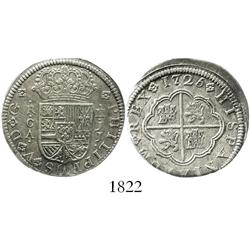 "Cuenca, Spain, milled 2 reales ""pistareen,"" Philip V, 1725JJ."