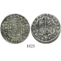 "Madrid, Spain, milled 2 reales ""pistareen,"" Philip V, 1725/4A, scarce."