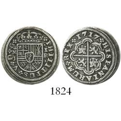 "Madrid, Spain, milled 1 real ""half pistareen,"" Philip V, 1717J, scarce."