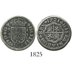 "Seville, Spain, milled 1 real ""half pistareen,"" Philip V, 1721J."