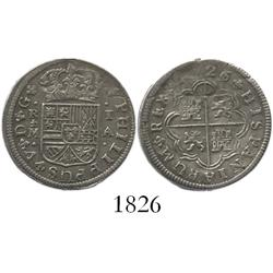 "Madrid, Spain, milled 1 real ""half pistareen,"" Philip V, 1726/1A."
