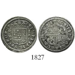 "Madrid, Spain, milled 1 real ""half pistareen,"" Philip V, 1726A."