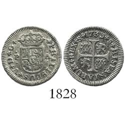 "Seville, Spain, milled 1/2 real ""quarter pistareen,"" Philip V, 1733/2PA, unlisted overdate."