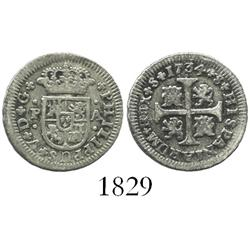 "Seville, Spain, milled 1/2 real ""quarter pistareen,"" Philip V, 1734PA."