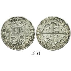"Segovia, Spain, milled 2 reales ""pistareen,"" Louis I, 1724F, scarce."