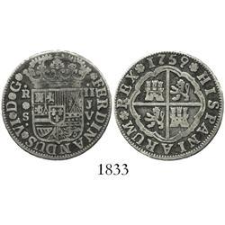 "Seville, Spain, milled 2 reales ""pistareen,"" Ferdinand VI, 1759JV."