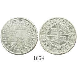 "Seville, Spain, 2 reales ""pistareen,"" Charles III, 1760JV."