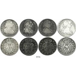 Lot of 4 Spanish bust 4R, Charles III, various dates and mints (1772CF, 1773CF, 1775PJ and 1777PJ).