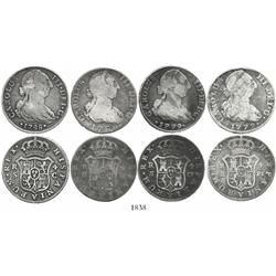Lot of 4 Spanish bust 4R, Charles III, various dates and mints (1779PJ, 1779CF, 1788M and 1788C).