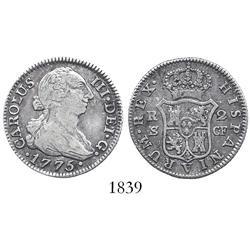 Seville, Spain, bust 2 reales, Charles III, 1775CF.
