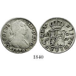 Seville, Spain, bust 2 reales, Charles III, 1776CF.