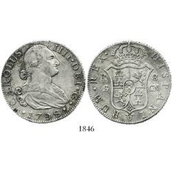 Seville, Spain, bust 8 reales, Charles IV, 1798CN.