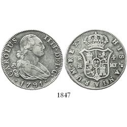 Madrid, Spain, bust 4 reales, Charles IV, 1791MF.