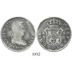 Cadiz, Spain, bust 4 reales, Ferdinand VII, 1812CI.