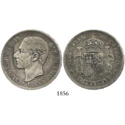 Madrid, Spain, 5 pesetas, Alfonso XII, 1885-MPM, incuse 18-(87) in stars.