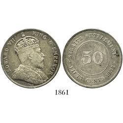 Straits Settlements (Malaysia/Singapore), 50 cents, Edward VII, 1902.