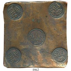 "Sweden (Avesta), copper ""plate money"" 1 daler, Frederik I, 1742."