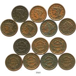 Lot of 7 US copper large cents, various dates (1844, 1845, 1847, 1848, 1849, 1853 and 1854).