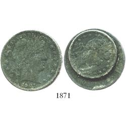 Clump of 2 USA Barber silver coins (50c 1901 and 25c 1902), encrusted, one of only 2 naturally fused
