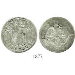 "West Indies(?), countermark ""1-1/2"" (for 1-1/2 shillings?) on a Seville, Spain, milled 2 reales ""pis"