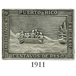 "Puerto Rico, silver uniface medal in the design of the 1893 ""el barquito"" 3 centavos postage stamp ("