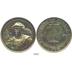 Puerto Rico, large bronze medal, merit award for the 1893 Exposition (4th centennial of the discover