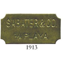 Puerto Rico (Mayaguez?), brass uniface transportation token for SABATER & CO., 1/2 PLAYA, rare.