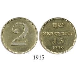 Puerto Rico (Ponce), silver 2 centavos hacienda token for H[ACIEND]A MERCEDITA J.S, 1880.