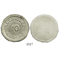 Puerto Rico (Vieques), silver uniface trial restrike of 10 centavos token for RODRIGUEZ (1800s), str