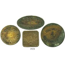 "St. Lucia, lot of 4 brass, uniface, coal tokens for the PETER COALING CO. LD. in denominations of ""1"