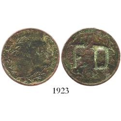 Trinidad, copper 1 stampee private merchant token for barber Francois Declos, incuse F D countermark