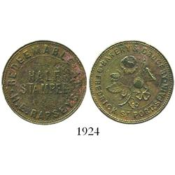 Trinidad, copper 1/2 stampee private merchant token for grocer H.E.RAPSEYS (ca. 1860), rare.